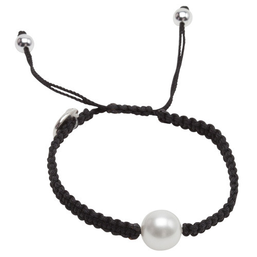 Pearls for Girls Armband Svart med vit pärla