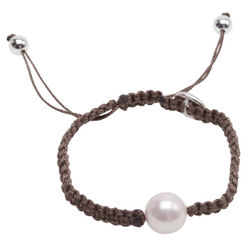 Pearls for Girls Armband Brunt med rosa pärla