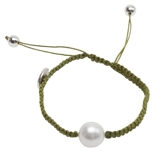 Pearls for Girls Armband Grönt med vit pärla